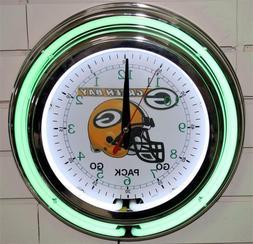 "13"" Neon Green Bay Packers Wall Clock Garage Man Cave Pub Ba"