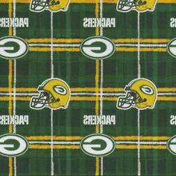 Fabric Green Bay Packers NFL on Green Flannel by the 1/4 yar