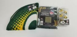 Green Bay Packers Bathroom Shower Curtain Hooks Rings Set, a