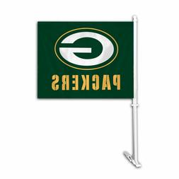 GREEN BAY PACKERS CAR AUTO FLAG BANNER & POLE 2 SIDED NFL