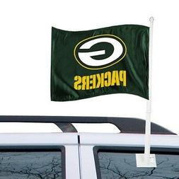 GREEN BAY PACKERS CAR AUTO FLAG BANNER & POLE 2 SIDED NFL FO
