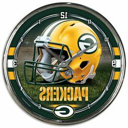 """GREEN BAY PACKERS CHROME 12"""" ROUND WALL CLOCK NFL FOOTBALL M"""