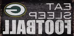 "Green Bay Packers Eat Sleep Football Wood Sign - NEW 12"" x 6"
