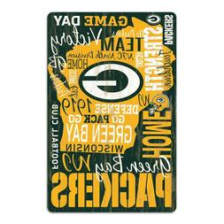 """GREEN BAY PACKERS GO PACK GO WORDAGE WOOD SIGN 11""""X17'' NEW"""