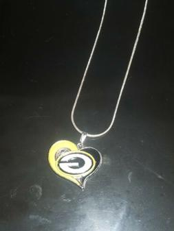 Green Bay Packers Heart Pendant Necklace on Sterling Silver