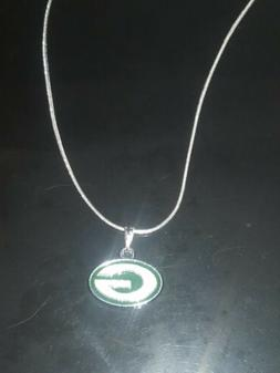 Green Bay Packers Logo Necklace Pendant on Sterling Silver C