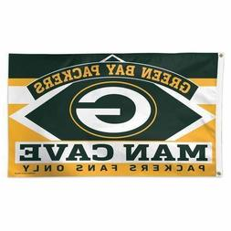 Green Bay Packers Man Cave Fans Only NFL Flag 3' x 5' Banner