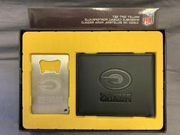 Green Bay Packers Men's Bi-Fold Wallet and Bottle Opener Key