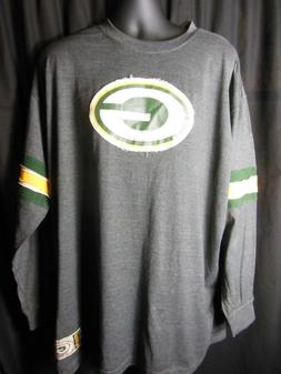 Green Bay Packers Men's  Majestic Frayed Logo Long Sleeve Te