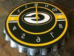 "Green Bay Packers - Metal Bottle Cap Wall Clock - 13.75"" Dia"