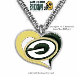 GREEN BAY PACKERS NECKLACE - LOVE HEART NFL FOOTBALL SPORTS