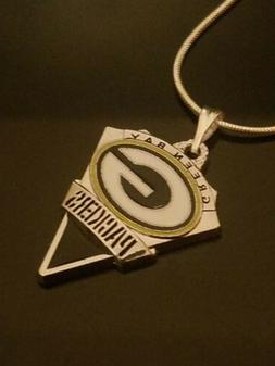 Green Bay Packers Necklace Pendant on Sterling Silver Chain