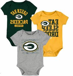 Green Bay Packers NFL 3 Piece Creeper Set - 0/3M - NEW Facto