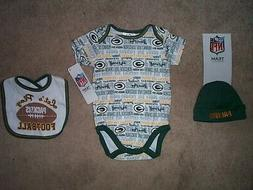 Green Bay Packers nfl INFANT BABY NEWBORN Jersey Hat & Bib S