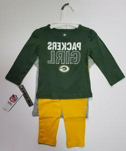 Green Bay Packers NFL Infant Toddler Girls 3 Piece Shirt & P