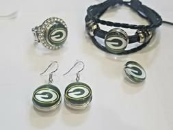 Green Bay Packers NFL Snap Jewelry snap, stretch Ring, Earri