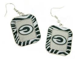 Green Bay Packers NFL Team Color Zebra Stripes Silver Dangle