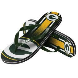 Green Bay Packers NFL Unisex Gradient Flip Flops, 4 Sizes, F