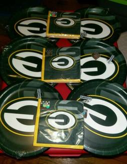 """GREEN BAY PACKERS PLAYOFF PARTY 9"""" PAPER PLATES NAPKINS  LAR"""