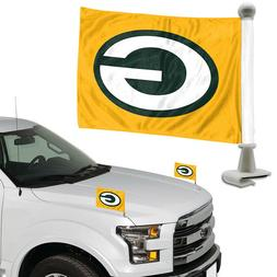 Green Bay Packers Set of 2 Ambassador Style Car Flags - Trun