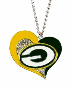 Green Bay Packers Swirl Heart Necklace