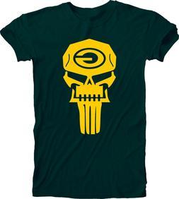 Green Bay Packers T-Shirt Punisher Fan Inspired Tee Handmade