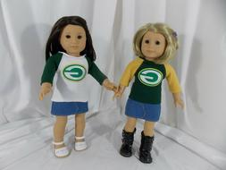 Green Bay Packers Tee T- Shirt for American Girl & other 18-