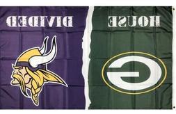 Green Bay Packers VS Minnesota Vikings House Divided Flag 3x