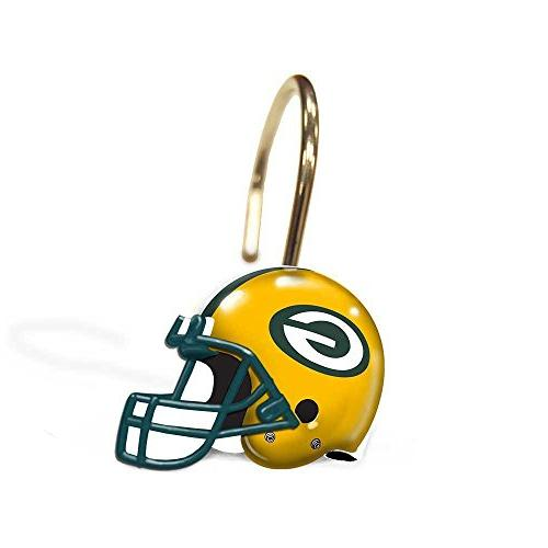 Green Bay Packers Bathroom Shower Curtain Hooks Rings Set