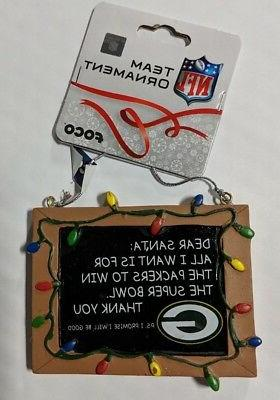 green bay packers christmas tree ornament chalkboard
