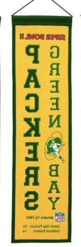 """GREEN BAY PACKERS EMBROIDERED WOOL HERITAGE BANNER 8""""X32"""" SU"""