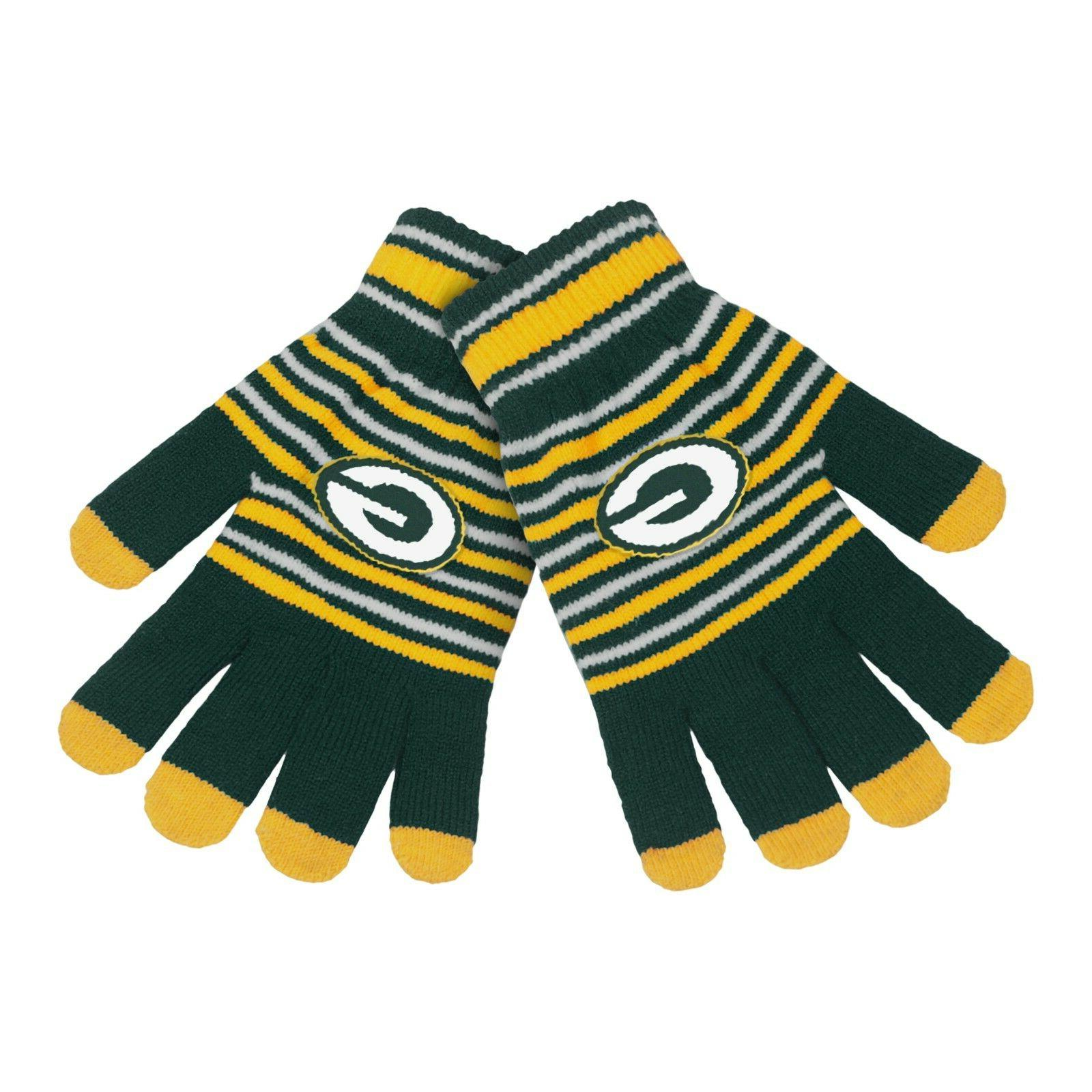 green bay packers gloves acrylic stripe knit