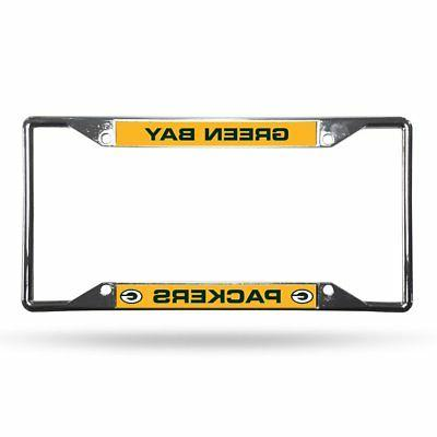 green bay packers license plate frame chrome