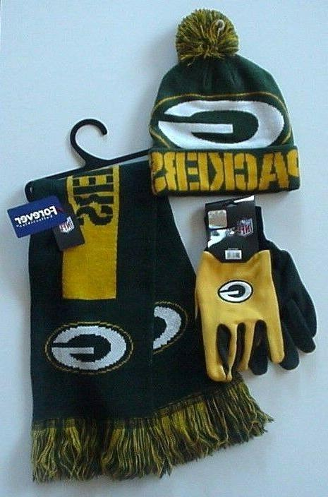 nfl green bay packers cap scarf gloves