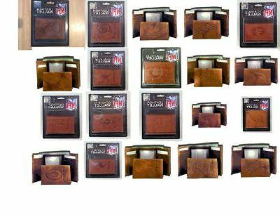 official nfl leather wallet trifold embossed choose