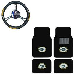New 5pc NFL Green Bay Packers Car Truck Floor Mats & Steerin