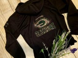 New Women's Rhinestone Green Bay Packers Zip Up Jacket Hoodi