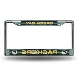 NFL Bling Chrome License Plate Frame Glitter Accent Green Ba