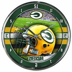 Nfl Football Team Chrome Wall Clock , Packers , 12-Inch