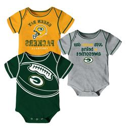 NFL Green Bay Packers Baby 3 Pack Bodysuit One Piece Creeper