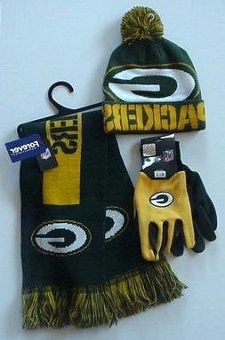 NFL Green Bay Packers Cap-Scarf-Gloves  Logo Apparel Gift Se