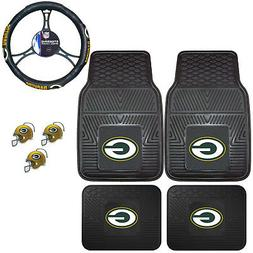 NFL Green Bay Packers Floor Mats Steering Wheel Cover & Air