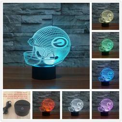 NFL Green Bay Packers Helmet 3D illusion 7Color Change LED N