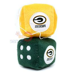 NFL Green Bay Packers Plush Fuzzy Dice Team Logo Auto Access