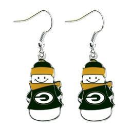 NFL Green Bay Packers Snowman Holiday Dangle Logo Earring Se