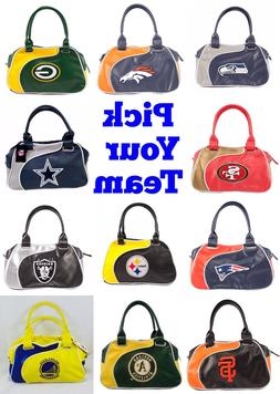 NFL,MLB,NBA Team Perfect Bowler Purse Hand Bag