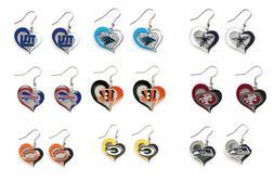 NFL Swirl Heart Team Dangle Earrings - Pick Your Team