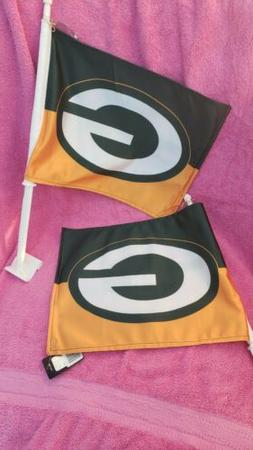 Set of 2 green bay packers Car Flags 2 sided NEW